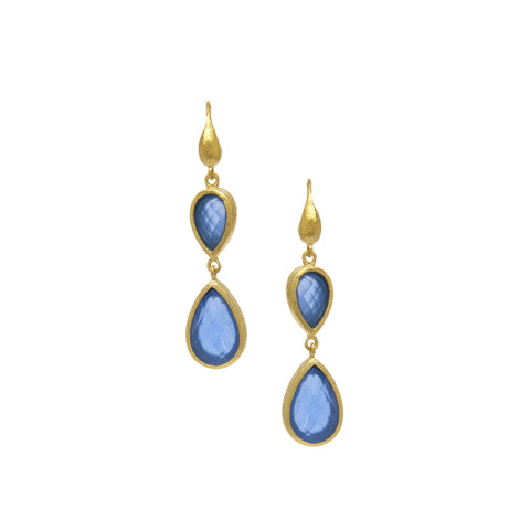 Blue Chalcedony Double Dangle Teardrop Earrings