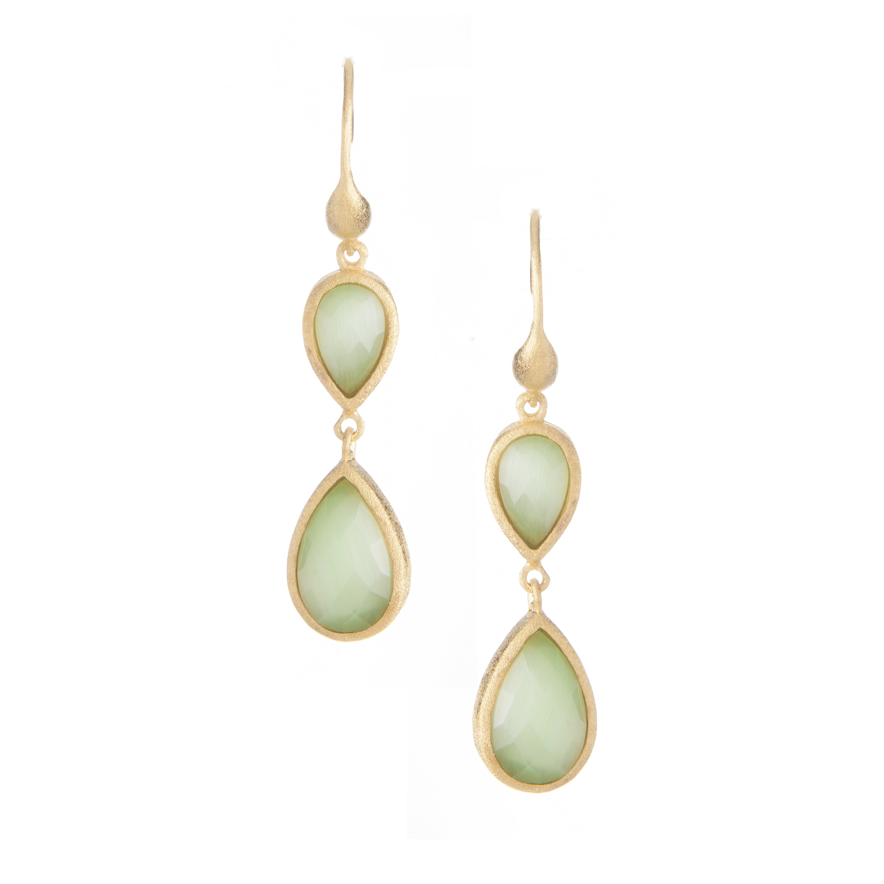 Lime Green Cat's Eye Double Dangle Teardrop Earrings