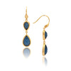 Cat's Eye Navy Double Dangle Teardrop Earrings