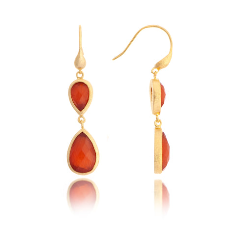 Cat's Eye Peach Double Dangle Teardrop Earrings