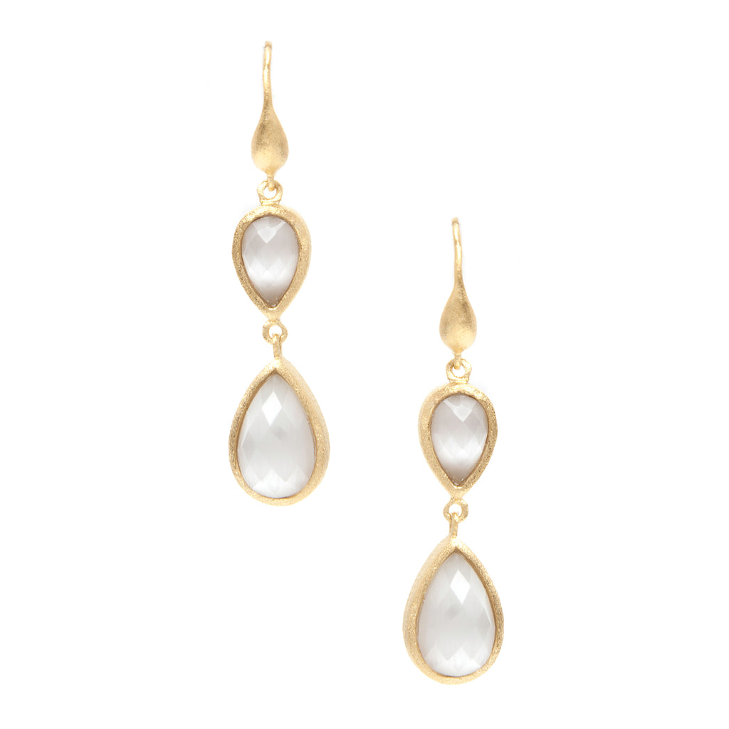 White Cat's Eye Double Dangle Teardrop Earrings