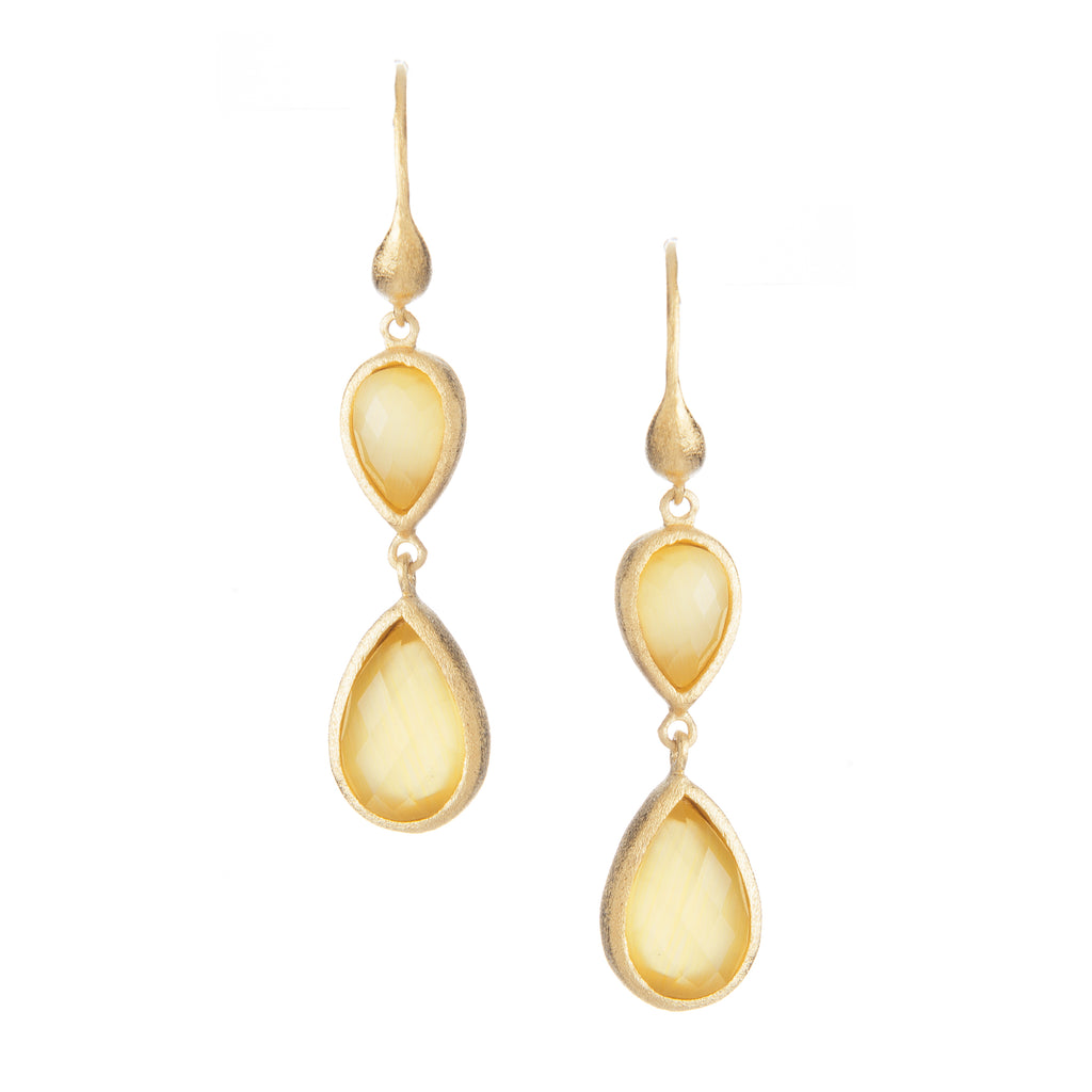 Yellow Cat's Eye Double Dangle Teardrop Earrings