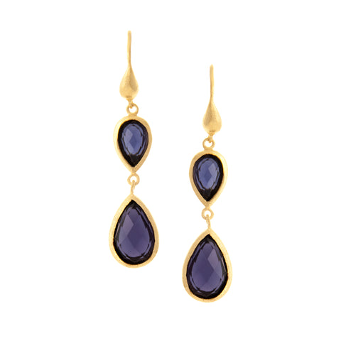Iolite Double Dangle Teardrop Earrings