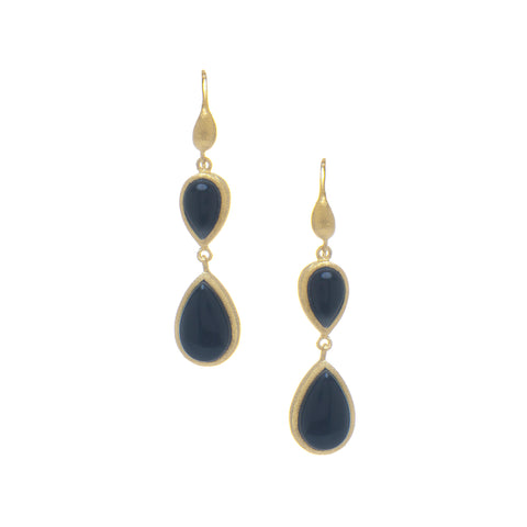 Onyx Double Dangle Teardrop Earrings