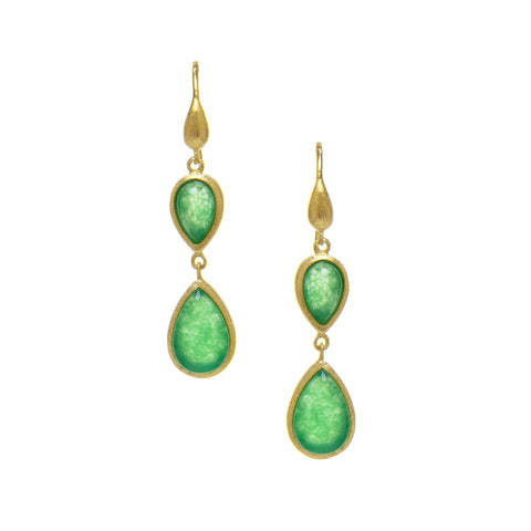 Green Quartzite Double Dangle Teardrop Earrings