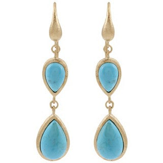 Magnesite Double Dangle Teardrop Earrings