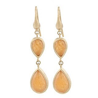 Orange Quartzite Double Dangle Teardrop Earrings