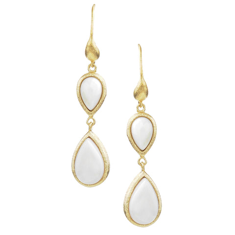 Mother of Pearl Double Dangle Teardrop Earrings