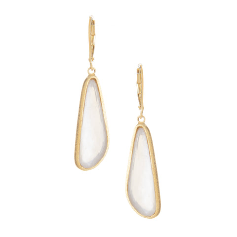 Mother of Pearl Doublet Drop Lever Back Earrings