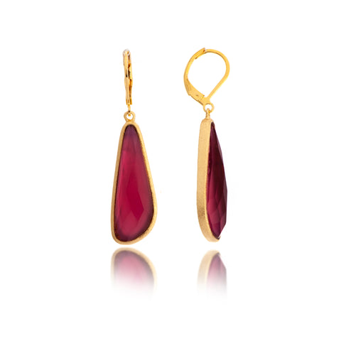 Rubellite Doublet Drop Lever Back Earrings