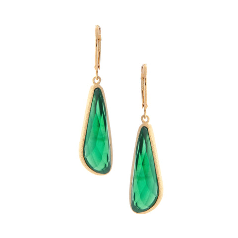 Emerald Doublet Drop Lever Back Earrings