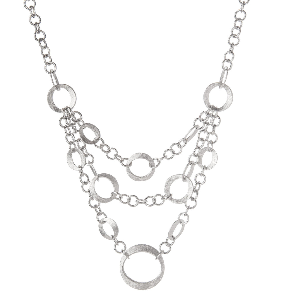 Rhodium Multi Chain Layered Bib Necklace