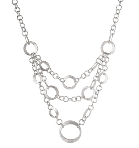 Rhodium Triple Row Cascading Layered Bib Necklace