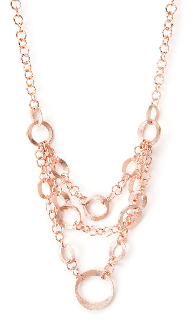 Rose Gold Satin Multi Chain Layered Bib Necklace