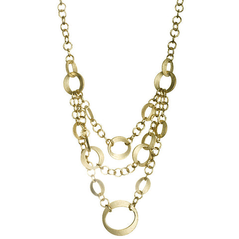 Satin Multi Chain Layered Bib Necklace