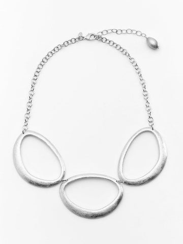 Rhodium Organic Oval Necklace