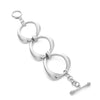 Rhodium Organic Oval Polished Toggle Bracelet