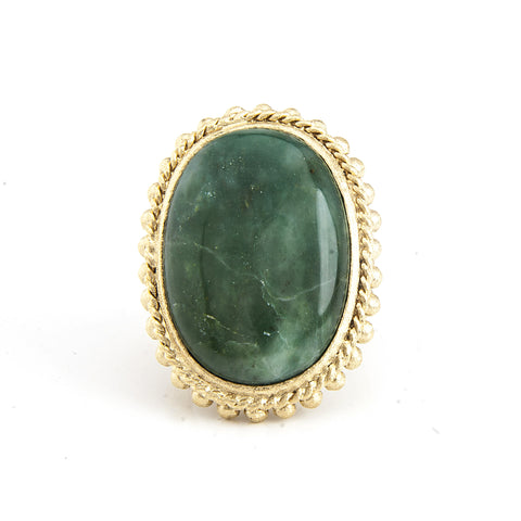 Jade Oval Cocktail Ring - Closeout