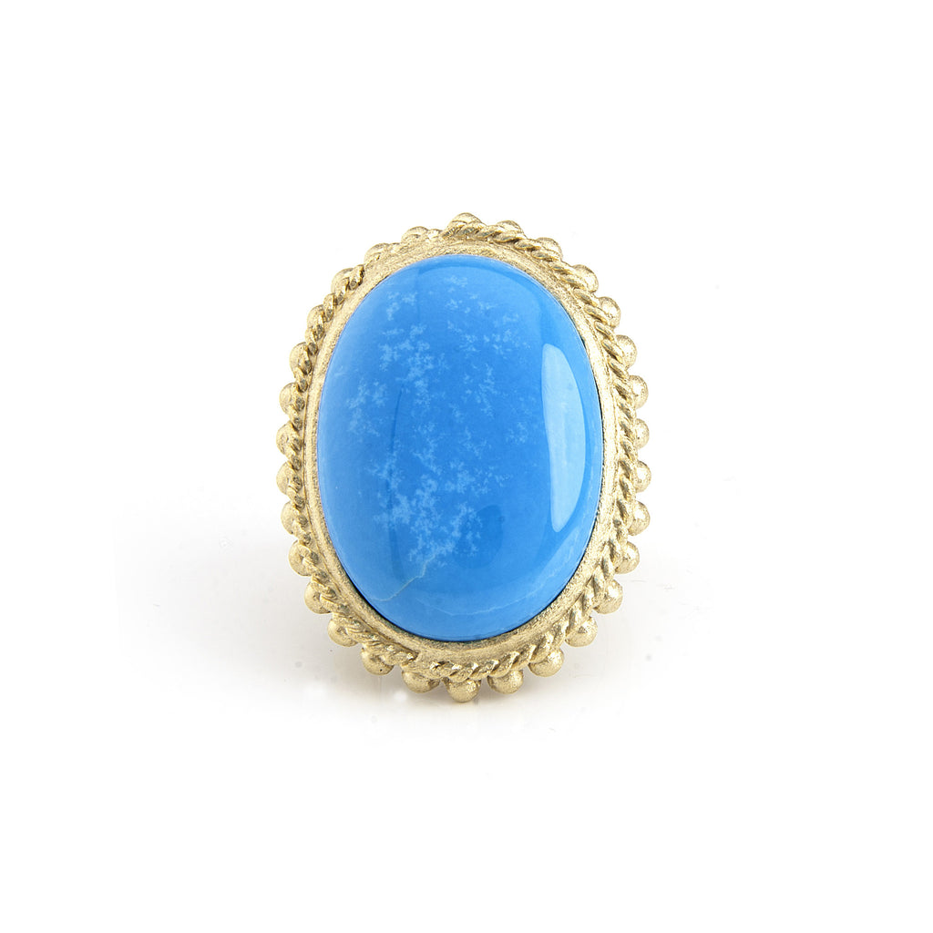 Magnesite Beaded Bezel Oval Cocktail Ring