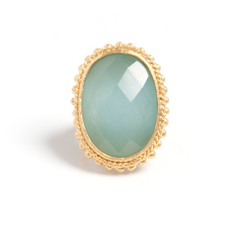 Caribbean Blue Quartzite Oval Cocktail Ring