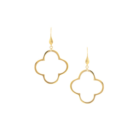 Yellow Gold Polished Clover Drop Earrings