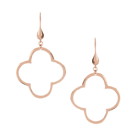 Rose Gold Polished Clover Dangle Earrings