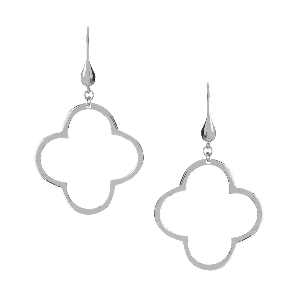 Rhodium Polished Clover Dangle Earrings