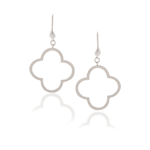 White Rhodium Satin Clover Dangle Earrings