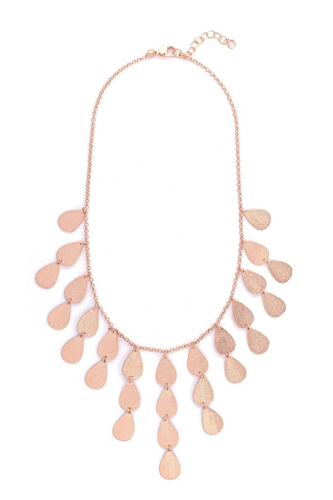 Rose Gold Satin Teardrop Bib Necklace