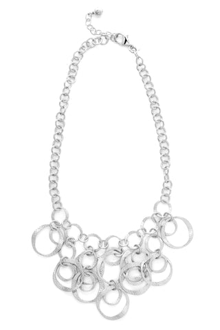 White Rhodium Cascading Bib Necklace