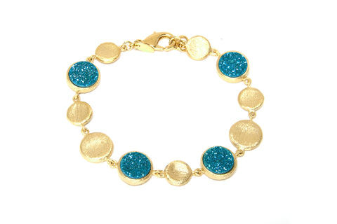 Aqua Blue Druzy Satin Station Bracelet