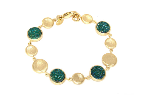 Teal Druzy Quartz Satin Station Bracelet