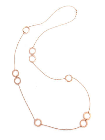 Wavy Rose Gold Open Station Long Necklace