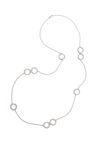 White Rhodium Wavy Open Station Long Necklace