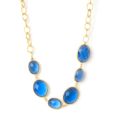 Poppy Blue Station Necklace