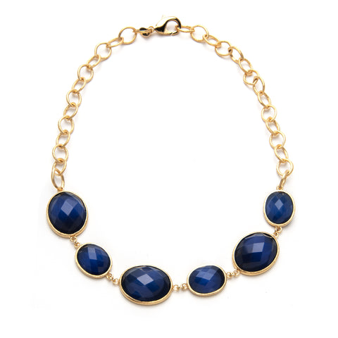 Navy Blue Cat's Eye Oval Station Necklace