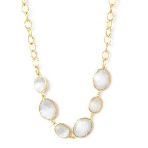White Cat's Eye Station Necklace - Closeout