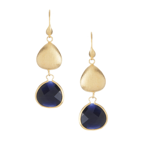 Navy Blue Cat's Eye + Satin Pebble Dangle Earrings