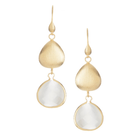 White Cat's Eye + Satin Pebble Dangle Earrings