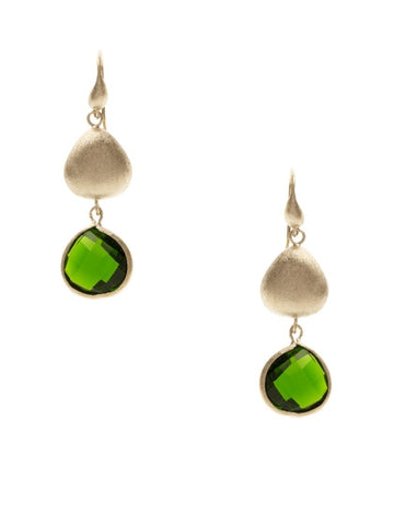 Peridot + Satin Pebble Dangle Earrings