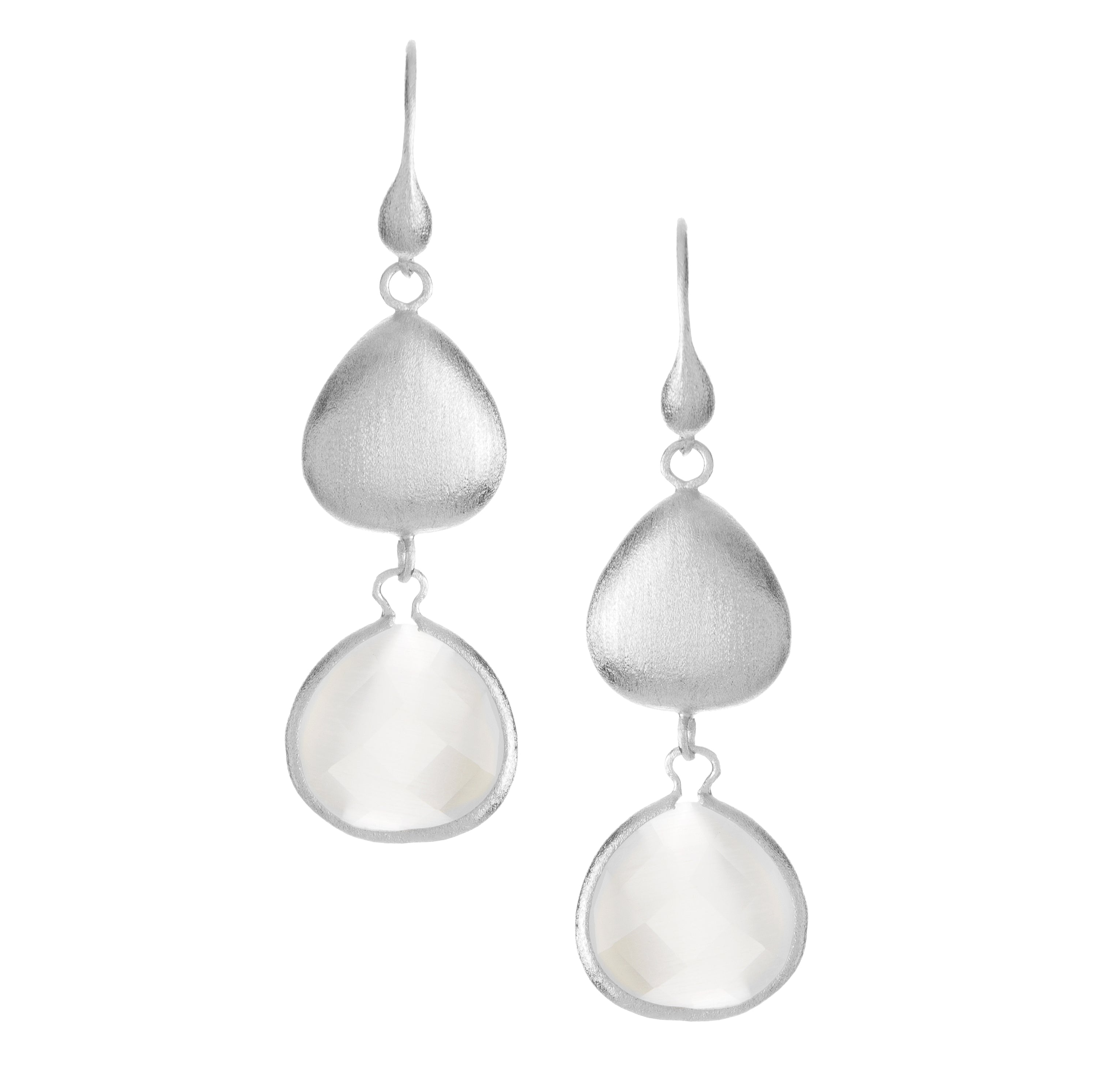 Rhodium White Cat's Eye + Satin Pebble Dangle Earrings