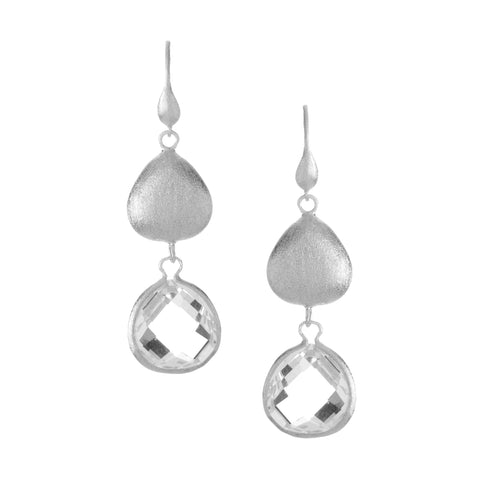 Rhodium Rock Crystal + Satin Pebble Dangle Earrings