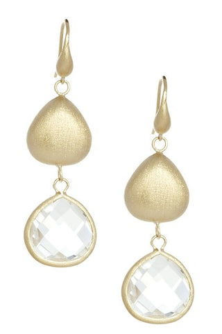 Rock Crystal + Satin Pebble Dangle Earrings