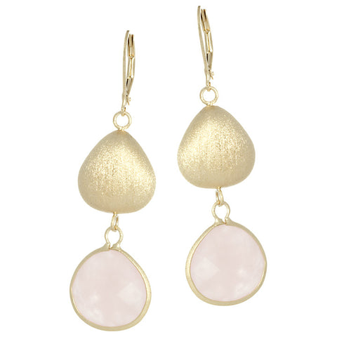 Rose Quartz + Satin Pebble Dangle Earrings