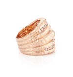 Rose Gold Simulated Diamond Wide Hammered Band Ring