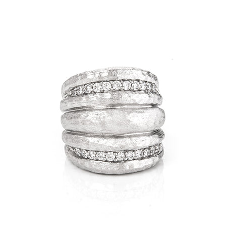 Simulated Diamond Hammered Wide Band Rhodium Ring