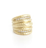 Simulated Diamond Wide Hammered Band Ring