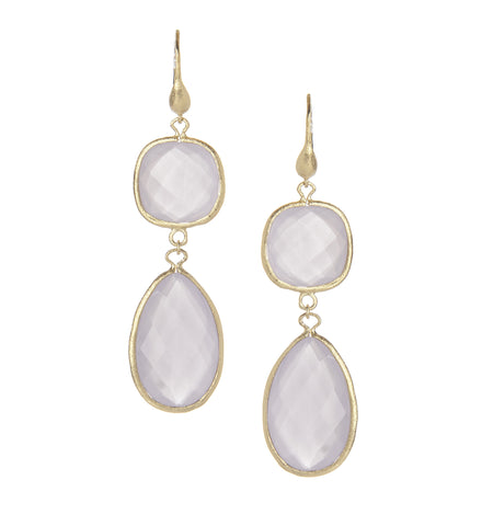 Lavender Chalcedony Double Dangle Earrings