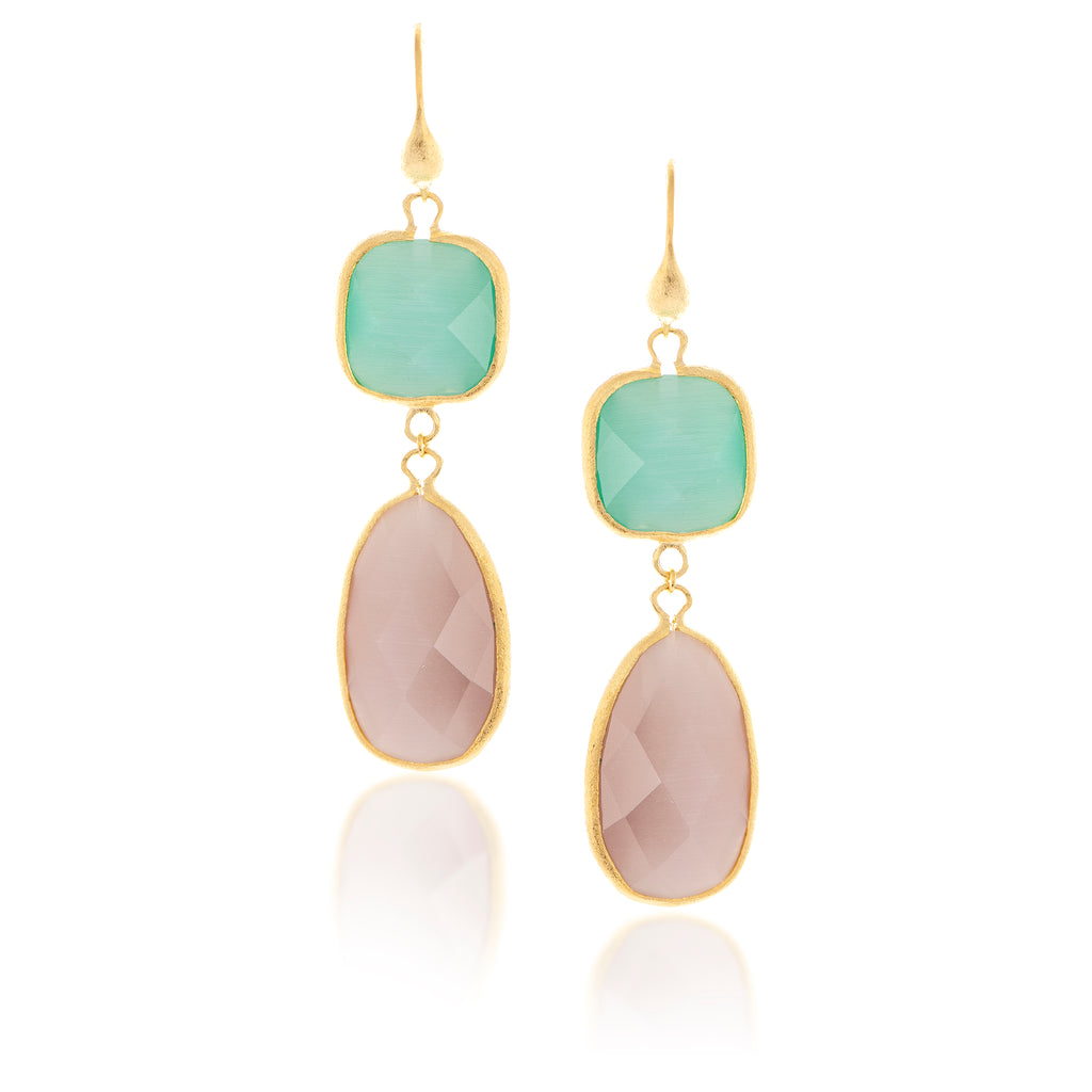 Cat's Eye Aqua + Lavender Double Dangle Earrings