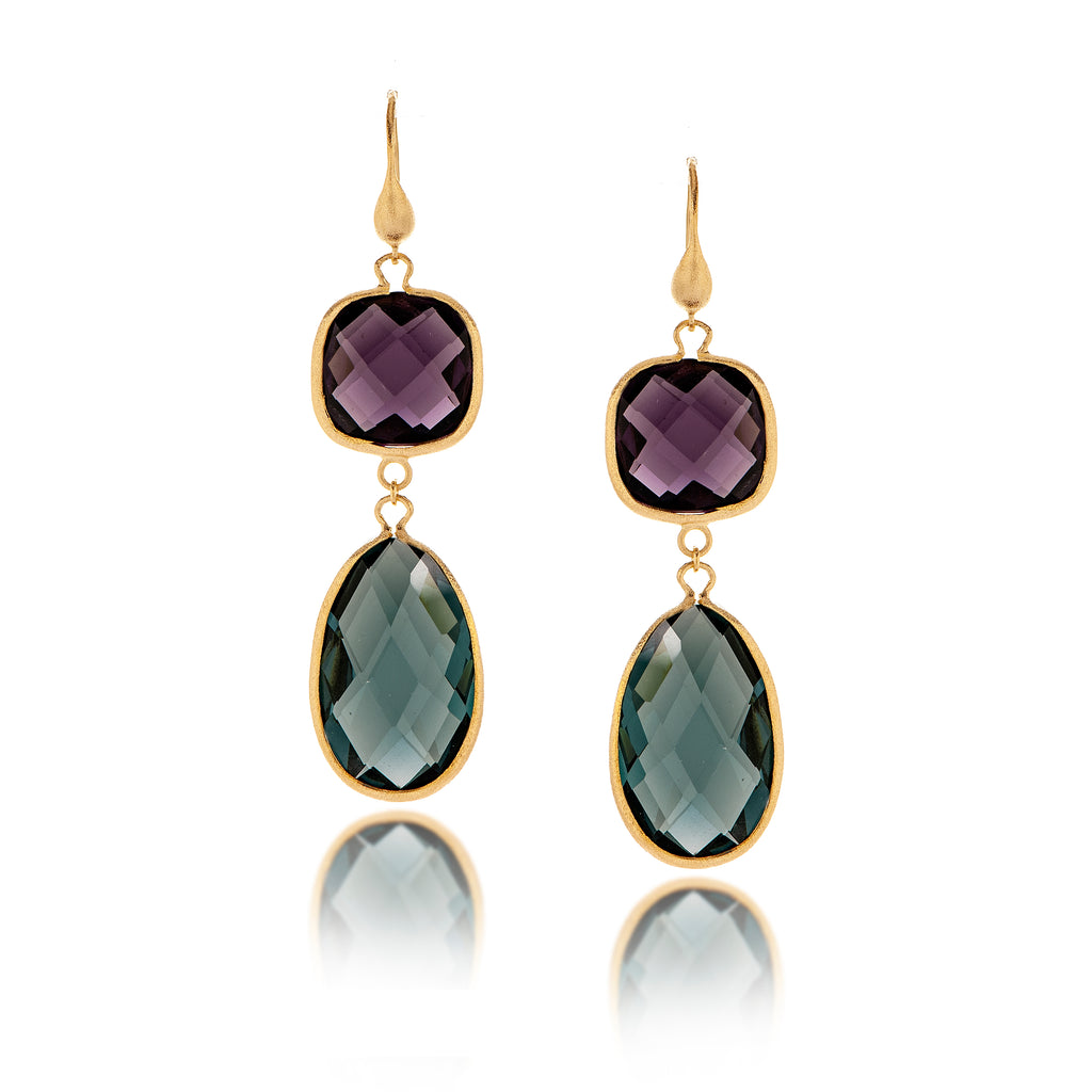 Amethyst + Denim Double Dangle Earrings